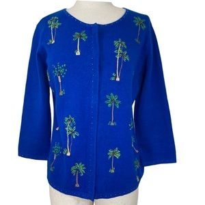 Royal blue Palm tree embroidery cardigan sweater